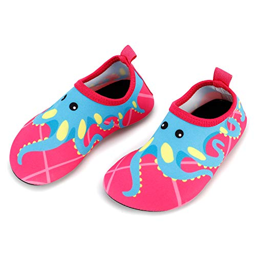 Bigib Toddler Kids Swim Water Shoes Quick Dry Non-Slip Water Skin Barefoot Sports Shoes Aqua Socks for Boys Girls Toddler, Pink Octopus, 9.5 Toddler