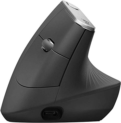 Logitech MX Vertical, Wire and Wireless Bluetooth Advanced Ergonomic Mouse, Less Muscular Strain, Natural Handshake Position, Improved Wrist Posture, Advanced Optical Tracking, Black