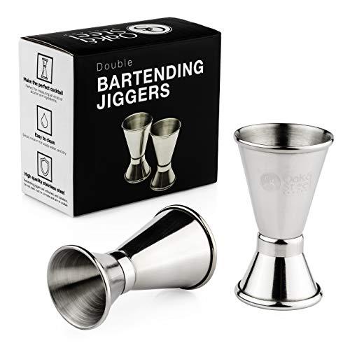 2 Vasos Medidor para Cócteles de Acero Inoxidable Premium 15/30ml - Robusto, con Bordes Lisos  para Coctelería Profesional o en Casa, Licor, Bebidas, Vino, Ginebra, Whisky.