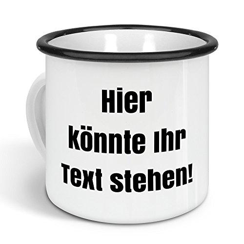 printplanet - Emaille-Tasse mit eigenem Text Bedrucken Lassen - Blechtasse Personalisieren – Nostalgie-Becher mit eigenem Spruch, Farbe Schwarz, 300ml