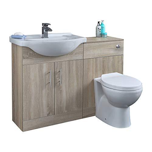 Hudson Reed Möbelausstattung Eiche 1 - WC-Kombinationsmöbel mit Waschplatz in Weiß - Inklusive Waschbeckenablauf - WC-Sitz mit Absenkautomatik - 1140 mm Gesamtbreite