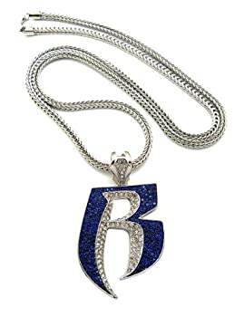 Crescendo SJ INC New Iced Out Ruff Ryders  R  Pendant 4mm&36  Franco Chain Hip Hop Necklace XP860RBL