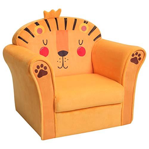 COSTWAY Kindersessel Löwe Kindersofa Kindercouch Babysessel für Mädchen und Jungen Kindermöbel Kinder Sessel Schaumstoff (Gelb)