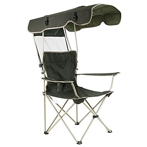 QWSA Sillas De Playa Silla Campamento con Toldo Sombra Césped Camping Plegable Bolsa Transporte para Exteriores Verde 150 Kg Capacidad Carga