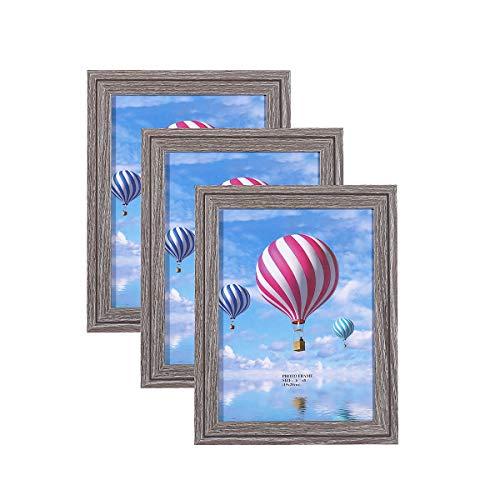 Metrekey 3er Set Bilderrahmen 15x20 cm Vintage Grau aus MDF mit Glasfront Deko Fotorahmen für Foto Urkunden wandhängend oder freistehen