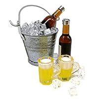 kowaku モダン1/121:6ミニワインボトル+カップ+アイスバケットセットプレイドールハウスAccs - 褐色