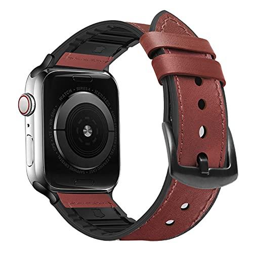 QINJIE Bandas de Cuero compatibles con Apple Watch Mujeres Hombres Niñas Niños Correa de Repuesto de Cuero,H,38MM