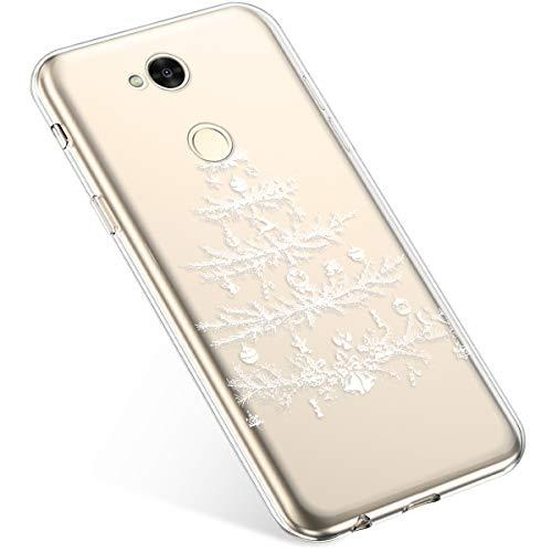 Uposao Kompatibel mit Handyhülle Sony Xperia XA2 Ultra Schutzhülle Silikon Transpatente Hülle mit Weihnachten Muster Durchsichtige Handytasche Ultra Dünn Weich TPU Bumper Case Backcover,Weiß Baum