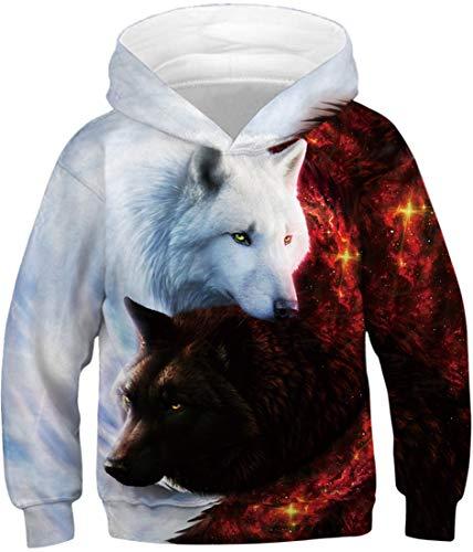 EUDOLAH Jungen Sweatshirts für 4-13 Alter Kinder Langarm 3D Druck Mehrfarbig Bunt Kids Herbst Winter Hemd mit Kaputzen 1-Engel und Teufelswolf L
