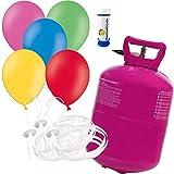 Helium Ballongas inkl. 50 Luftballons Ø 23 cm mit 50 Schnellverschlüssen Party Gas Komplettset + Doriantrade Seifenblasen