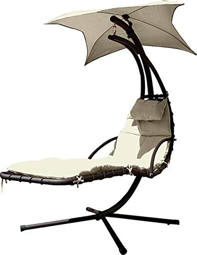 ALL-JingHong Sonnenliege verstellbar Outsunny Gartenliege Relaxliege mit Sonnendach Garten Stahl Grau 200 * 103 * 180cm Weiß JH-1123