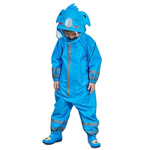 Bwiv Regenmantel Kinder Wasserdicht Atmungsaktiv Regenanzug Einteilig Jungen Mädchen Regenjacke mit Reflektor Leicht Overall ohne Geruch 3-10 Jahre Blau S