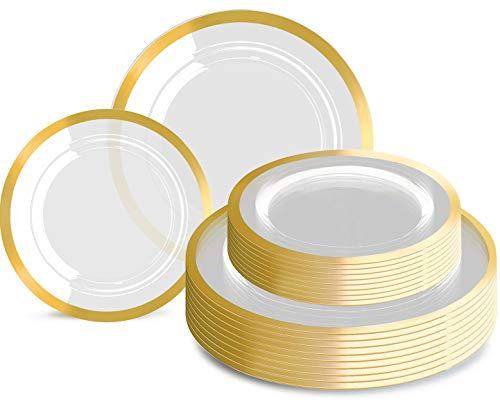 120pcs Plastic Gold plates Clear Plastic Plates with Unique Design Disposable Plates Heavy Duty Includes: 60 Durable Dinner Plates 10.25' and 60 Dessert Plates 7.5', Supernal