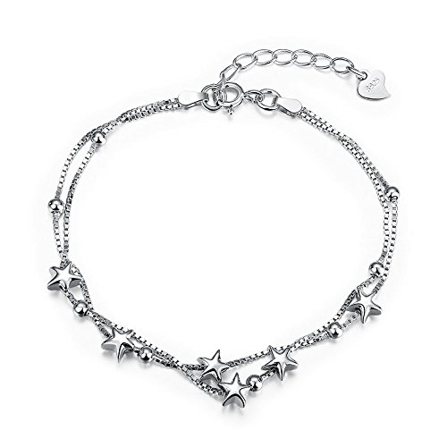 Jaetech House Damen Armband 925 Sterling Silber Stern Armband Modeschmuck Armbänder Liebe Verstellbar 16-19 cm Stilvoll und Schön Armkette Damen mit Schmuckverpackung (MEHRWEG)