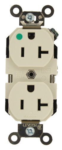 Leviton 8300-T 20-Amp, 125-Volt, Extra Heavy Duty Hospital Grade, Duplex Receptacle, Straight Blade, Self Grounding, Light Almond