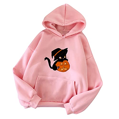 Wave166 Sudadera grande de Halloween con estampado de calabaza y gato de un solo color, con capucha y bolsillos, moda suelta, camiseta de fiesta para mujer, Rosa., XXL