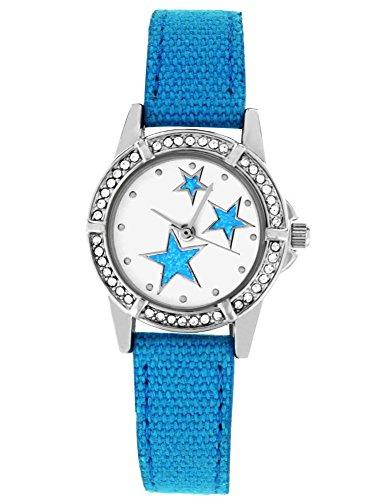 Crystal blue Mädchen Uhr Analog Quarz mit Textilarmband 20014