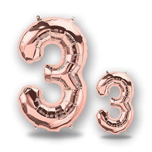 """FUNXGO® Folienballon Zahl in Rose Gold 2 Stück -40\""""/100cm+16\""""/40cm- Folienballons für Helium und Luft als Geburtstag, Hochzeit , Jubiläum oder Abschluss Geschenk , Party Dekoration (Rosegold[3])"""
