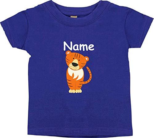 Shirtinstyle Bébé Haut, Tigre Animal Motifs Nom Souhaité - Mauve, 6-12 Monate