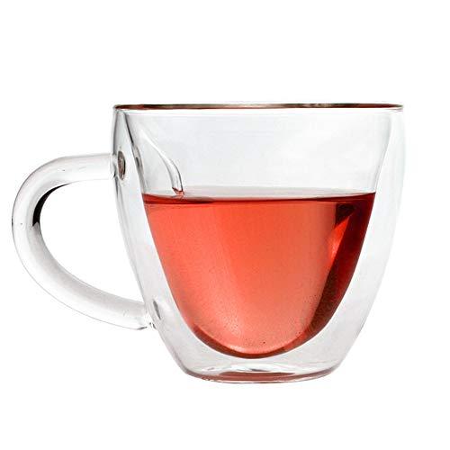 NSDD Tazas de café, en forma de corazón de doble pared aislada de vidrio tazas de café o té, doble pared de vidrio transparente de 6/8 onzas con asa.