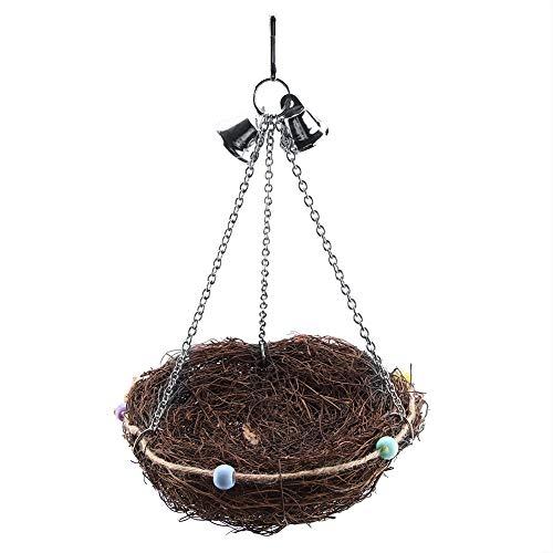 TAKE FANS Ratán pájaros loro paja nido columpio colgante juguete con campanas juguetes (27 x 12 cm) durable