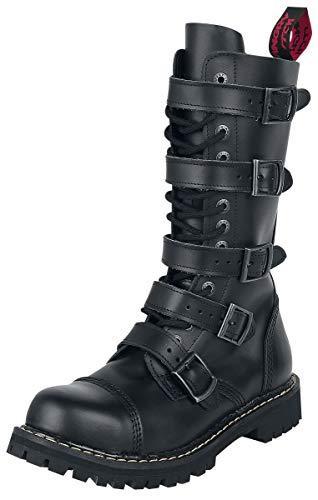 ANGRY ITCH - 14-Loch 5-Buckle Gothic Punk Army Ranger Leder Schwarz Schnallen Armee Stiefel mit RV & Stahlkappe 36-48 - Made in EU!, EU-Größe:EU-47