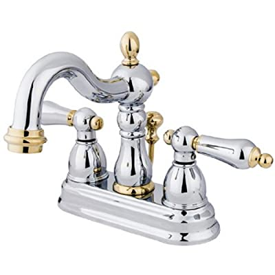 Kingston Brass KB1604AL Heritage 4-Inch Centerset Lavatory Faucet with Metal Lever Handle, Polished Chrome and Polished Brass