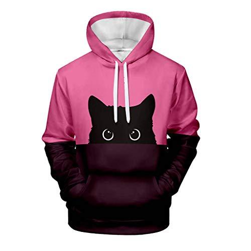 Hoodies FüR Frauen/MäNner - Paare LäSsig LangäRmeligen Pullover Damen Oversize Katze Print Patchwork-Liebhaber Kapuzen Pullovershirt(Pink,S)