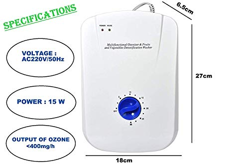 ARG HEALTH CARE Fruit and Vegetable Purifier Multifunctional Ozonizer Ozone Generator For Clean Air Remove Pesticides Kill Germs Clear Toxin Bad Odour Fruit Meat Vegetable Cleaner Air Purifier High Ozone Output Of 400 Mg/h .