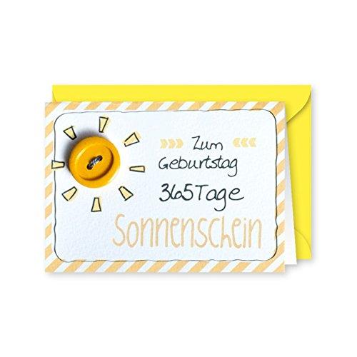 Knopfkarte 60 - Sonnenschein - Geburtstagskarte - Mini-Karte