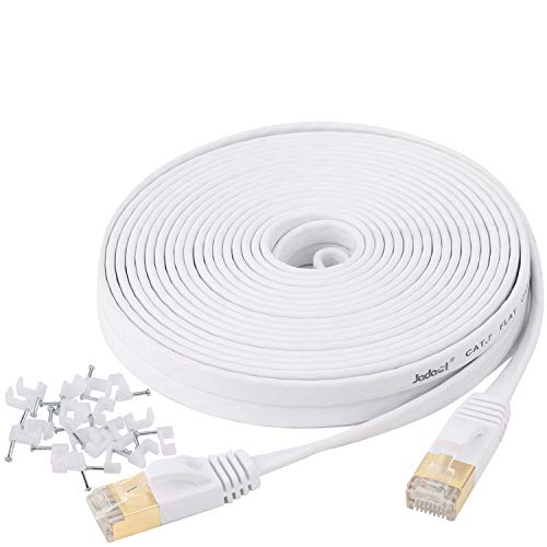 Cat 7 Ethernet Cable 25 ft Shielded - Solid Flat Internet Network Computer Patch Cord, Faster Than Cat5e/Cat5/cat6 Network, Slim Cat7 High Speed LAN Wire with Rj45 Connectors for Router, Modem – White