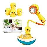 Ysimee Baby badespielzeug wasserspielzeug mit Duschkopf, Elektrische Sprinkler spielzeug, drehbarem Boot und 3 Arten von sich drehenden Schiffsenten, Sehr starker Saugnäpfe für kleinkinder ab 1 jahr
