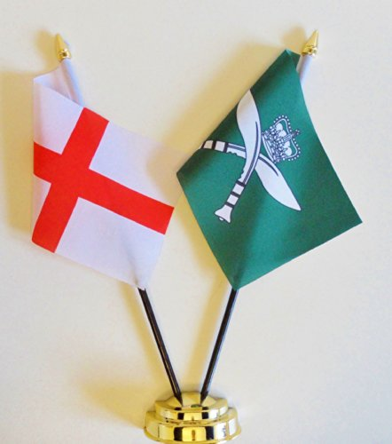 Angleterre & Gurkha fusils d'amitié Drapeau de table écran 25 cm (25,4 cm)