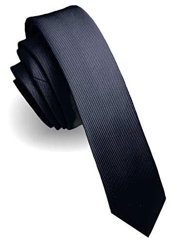 JEMYGINS schmale Herren Krawatte einfarbig in verschiedenen Farben 4cm, Dunkelblau, Slim
