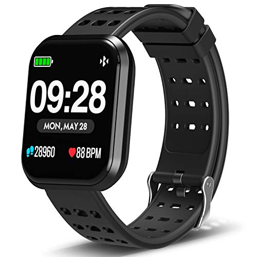 DoSmarter Surpro Fitness Watch, Wearable Activity Tracker Running Watch with Heart Rate Monitor, Waterproof Smart Wristband Pedometer Watch for Kids Woman Man, Black