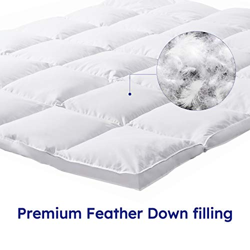 DOWNCOOL Feather Bed Mattress Topper Queen, Premium Extra Thick Quilted Down Mattress Topper, 2 Inch Pillowtop Matressess Topper with Cotton Fabric Cover.
