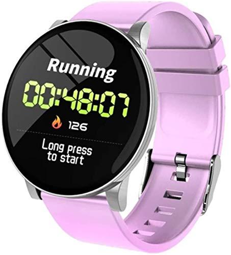 Reloj inteligente con pantalla de color para exteriores, pantalla redonda, frecuencia cardíaca, presión arterial, notificación de pasos, notificación de pulsación, tacto + botón, color morado