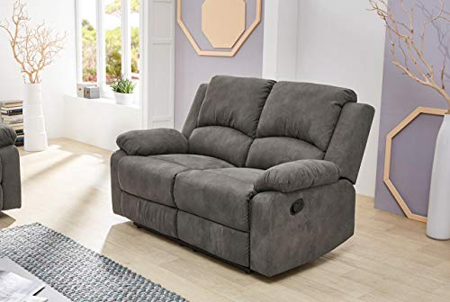 lifestyle4living Sofa mit Relaxfunktion in Anthrazit, 2-Sitzer Relaxsofa, Vintage, Stoff/Federkern-Polsterung | Gemütliche Relax-Couch in modernem Design