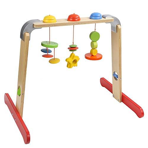 HSJCZMD Faltbare Holzboden Fitness-Studios, Baby-Fitness-Rahmen mit 3 PC Anhängern Spielzeug, handgemachte natürliche Kinder Fitness-Rack für Babys, Kinder