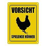 trendaffe - Vorsicht spielende Hühner Metallschild mit Huhn Motiv Hühner Hahn Henne Achtung thumbnail