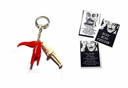 Erhalten Abbildung 3TRIS-Corni 4cm ca. und eine Karte Toto 'Hommage a Überraschung, Bucklige Hand Geweih Horn Amulett Horn Charms Lucky Bucklige Scio portafotuna Schlüsselanhänger Napoletani Napoli