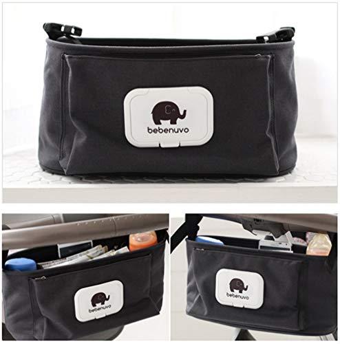 Kinderwagen Organizer, Universale Baby Kinderwagentasche mit Reißverschluss, Unverzichtbares Kinderwagen-Zubehör Aufbewahrungstasche (Stil 1_ Schwarz)