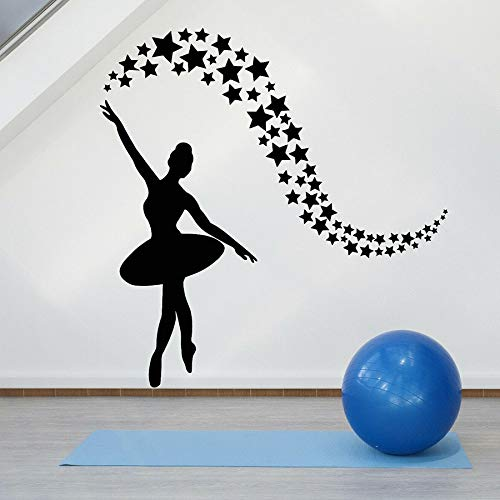 Tianpengyuanshuai Fototapete Ballerina tanzen Konzert Dekoration Sterne Fenster Vinyl Aufkleber Kinderzimmer Wandbild 63x64cm