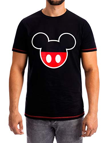 Disney Herren T-Shirt Mickey Mouse Schwarz Large