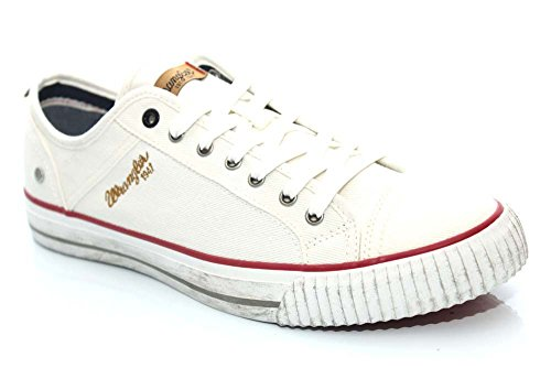 Wrangler Mens Canvas Trainers Shoes Size UK 6-12 Grey Navy White Starry Low-White-UK 11 (EU 45)