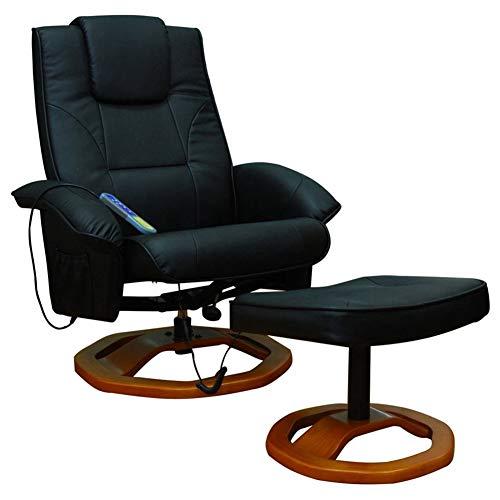 Ausla - Sillón de masaje con reposapiés, sillón relax de piel sintética, reclinable, masaje, función de calefacción, 5 programas diferentes de masaje, 76 x 70 x 97 cm, color negro