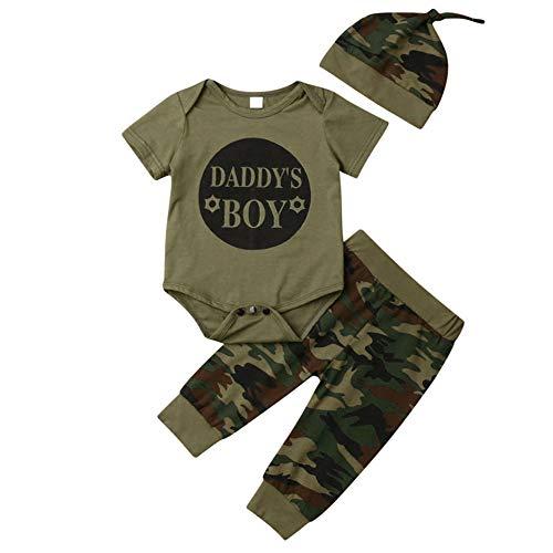 Geagodelia 3tlg Babykleidung Set Baby Jungen Kleidung Outfit Body Strampler + Hose + Mütze Neugeborene Kleinkinder Weiche Babyset T-18266 (0-3 Monate, Daddy's Boy (Grün 013 - Kurzarm))