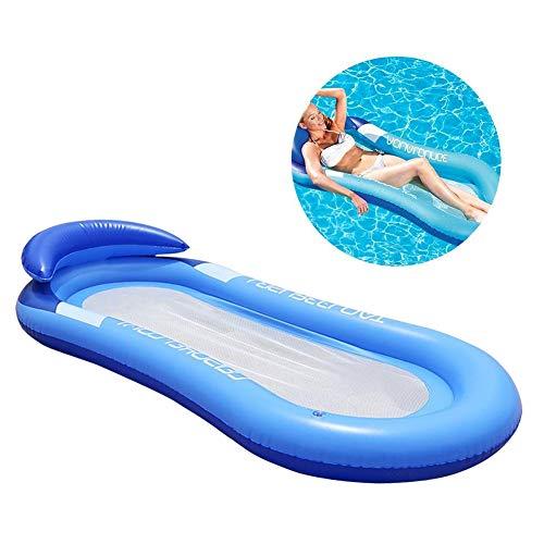 tofree Floating Lounge Stuhl mit Mesh Unten aufblasbare Schwimmende Wasser Bett Strandmatte, Blau