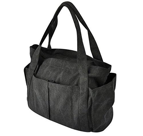 MIQI Women's Tote Bag Canvas Shoulder Bag Handbag-Black