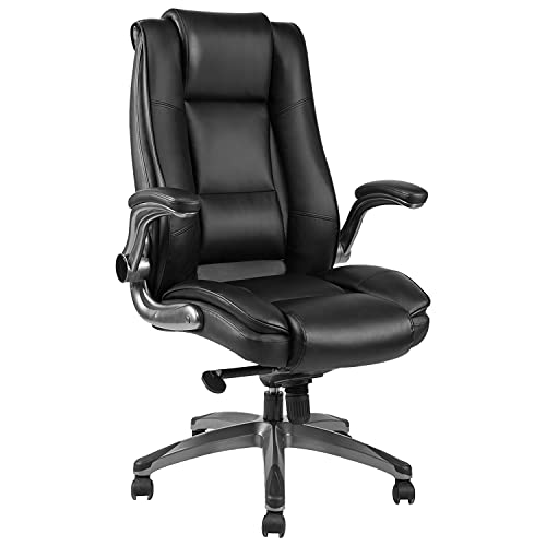 Ergonomic Executive Home Office Chairs, High Back Swivel Computer Desk Chairs with Flip up Arms and Height Adjustment, Office Task Desk Chair Swivel Home Comfort Chairs (Black)